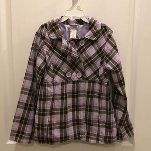 🌸Girls Gymboree purple plaid pea coat sz 7-8🌸